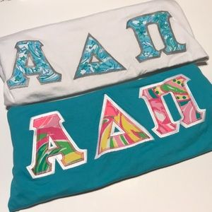 Tops - TWO alpha Delta Pi Lilly Pulitzer double stitch